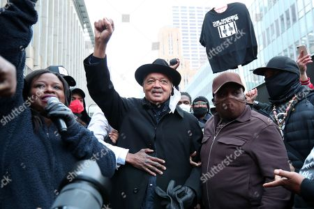 Rev. Reverend Jesse Jackson speaks to a crowd on the first day of jury deliberation in the Derek Chauvin trial of the death of George Floyd