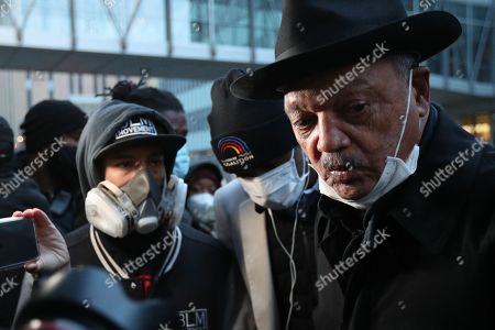 Stock Picture of Rev. Reverend Jesse Jackson speaks to a crowd on the first day of jury deliberation in the Derek Chauvin trial of the death of George Floyd