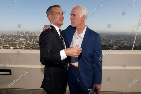 Los Angeles Mayor Eric Garcetti (L) with father Gil Garcetti, former Los Angeles County's 40th district attorney, poses for the photographer after holding his annual State of the City address from the Griffith Observatory in Los Angeles, CA, USA, 19 April 2021.