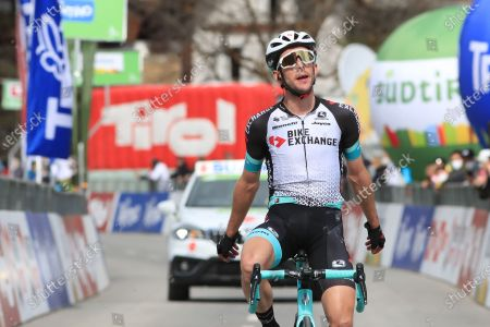 Simon Yates Team BikeExchange celebrates his stage win at the finish line; Cycling Tour of the Alps Stage 2, Innsbruck, Feichten Im Kaunertal Austria.