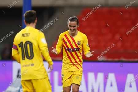 """Antoine Griezmann (Barcelona) - Football / Soccer : Griezmann celebrates his goal before it is cancelled out by VAR during Spanish """"Copa del Rey"""" final match between Athletic club de Bilbao 0-4 FC Barcelona at the Estadio La Cartuja in Sevilla, Spain."""