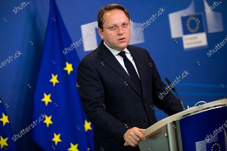 Oliver Varhelyi news conference, Brussels