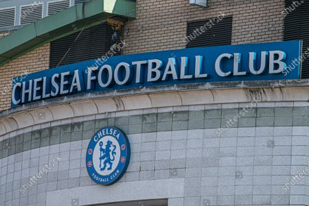 Stock Photo of The stadium entrance at  Stamford Bridge after the decision by owner of Chelsea Football Club Roman Abramovitch to form a breakaway European Super League with other English Premier League clubs