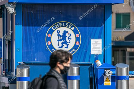 The stadium entrance at  Stamford Bridge after the decision by owner of Chelsea Football Club Roman Abramovitch to form a breakaway European Super League with other English Premier League clubs