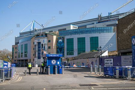 The entrance outside Stamford Bridge stadium after the decision by the owner Chelsea Football Club, Roman Abramovich  to form a breakaway European Super League with other English Premier league clubs