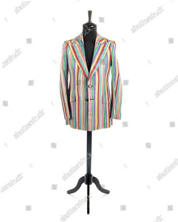 Stock Picture of He's Like A Rainbow...  A stylish jacket worn by Keith Richards in his Rolling Stones heyday has emerged for sale for £6,000.  The satin rainbow jacket was made by late 60s Kings Road boutique clothes shop Granny Takes a Trip.  The hellraising musician, then aged in his mid-20s, owned it when the band were at the forefront of the 60s rebellion.