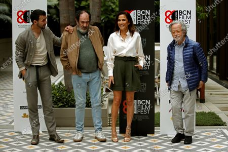 Fernando Colomo (R) poses with actors Quim Avila (L) and Karra Elejalde (2L) and actress Toni Acosta (C) during the presentation of the film 'Poliamor para principiantes' (lit. Polyamory for Learners) within the BCN Film Fest held in Barcelona, Spain, 21 April 2021. The BCN Film Fest runs from 15 to 23 April.