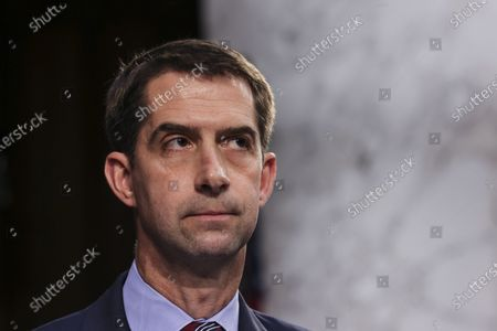 Sen. Tom Cotton, R-Ark., listens during a Senate Judiciary Committee hearing on voting rights on Capitol Hill in Washington
