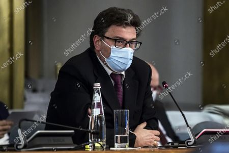 The Minister of Economic Development Giancarlo Giorgetti during a session of the control room for internationalization dedicated to the attraction of foreign investments, alla Farnesina, Roma, Italia, 20 April 2021.