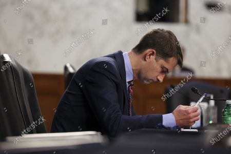 Sen. Tom Cotton, R-AR, attends a Senate Judiciary Committee hearing on voting rights on Capitol Hill in Washington DC, on Tuesday April 20, 2021.