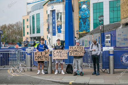 Editorial image of Chelsea fans protest against  European Super League - 20 Apr 2021