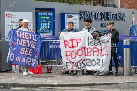 Editorial photo of Chelsea fans protest against  European Super League - 20 Apr 2021