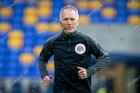 Assistant referee Michael George during the EFL Sky Bet League 1 match between AFC Wimbledon and Oxford United at Plough Lane, London