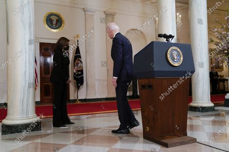 President Joe Biden and Vice President Kamala Harris leave after speaking, at the White House in Washington, after former Minneapolis police Officer Derek Chauvin was convicted of murder and manslaughter in the death of George Floyd