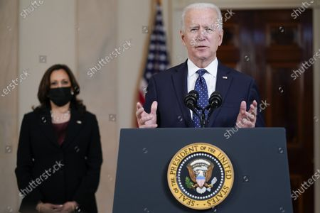 President Joe Biden, accompanied by Vice President Kamala Harris, speaks, at the White House in Washington, after former Minneapolis police Officer Derek Chauvin was convicted of murder and manslaughter in the death of George Floyd
