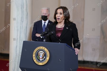 Vice President Kamala Harris, accompanied by President Joe Biden, speaks, at the White House in Washington, after former Minneapolis police Officer Derek Chauvin was convicted of murder and manslaughter in the death of George Floyd