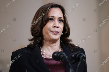 Vice President Kamala Harris speaks, at the White House in Washington, after former Minneapolis police Officer Derek Chauvin was convicted of murder and manslaughter in the death of George Floyd