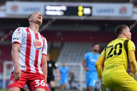 Luke Norris of Stevenage FC goes close during Stevenage vs Cheltenham Town, Sky Bet EFL League 2 Football at the Lamex Stadium on 20th April 2021