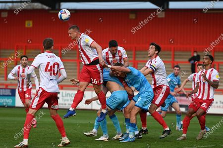 Stevenage forward Luke Norris(36) heads the ball during the EFL Sky Bet League 2 match between Stevenage and Cheltenham Town at the Lamex Stadium, Stevenage