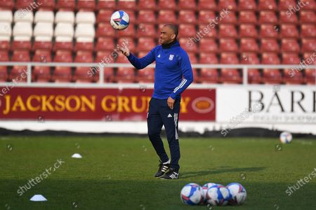 Stock Picture of Ipswich Town under 23 manager Kieron Dyer during the EFL Sky Bet League 1 match between Northampton Town and Ipswich Town at the PTS Academy Stadium, Northampton