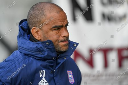 Ipswich Town under 23 manager Kieron Dyer during the EFL Sky Bet League 1 match between Northampton Town and Ipswich Town at the PTS Academy Stadium, Northampton