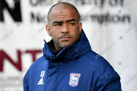 Stock Image of  Ipswich Town under 23 manager Kieron Dyer during the EFL Sky Bet League 1 match between Northampton Town and Ipswich Town at the PTS Academy Stadium, Northampton