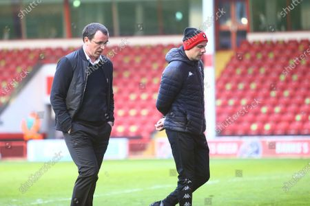 Salford City manager Gary Bowyer (left) during the EFL Sky Bet League 2 match between Walsall and Salford City at the Banks's Stadium, Walsall