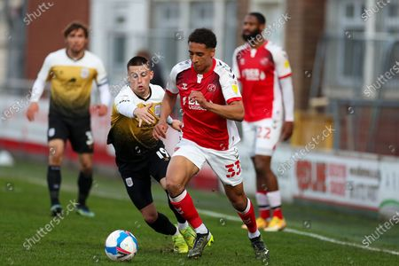 Fleetwood Town defender James Hill (33) with the ball during the EFL Sky Bet League 1 match between Fleetwood Town and Crewe Alexandra at the Highbury Stadium, Fleetwood