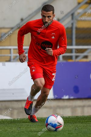 Leyton Orient midfielder Nick Freeman (28) warms up prior to the EFL Sky Bet League 2 match between Leyton Orient and Cambridge United at the Breyer Group Stadium, London