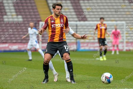 Stock Image of Gareth Evans Pass during the EFL Sky Bet League 2 match between Bradford City and Tranmere Rovers at the Utilita Energy Stadium, Bradford