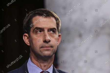Sen. Tom Cotton, R-AR, attends a Senate Judiciary Committee hearing on voting rights on Capitol Hill in Washington DC, Tuesday, April 20, 2021.
