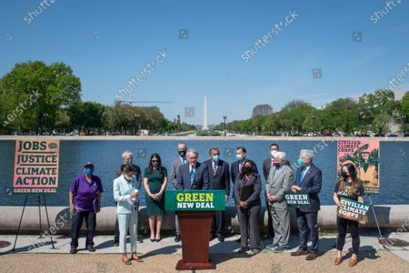 United States Senator Ed Markey (Democrat of Massachusetts) offers remarks during a press conference to re-introduce the Green New Deal in front of the US Capitol in Washington, DC,.