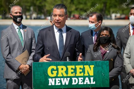 United States Senator Alex Padilla (Democrat of California) offers remarks during a press conference to re-introduce the Green New Deal in front of the US Capitol in Washington, DC,.