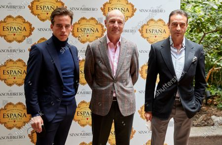 Enrique Ponce, Pedro Domecq and Gonzalo Caballero attend the presentation of the bullfighting poster in a hand in hand between the bullfighters Enrique Ponce and Gonzalo Caballero at Terraza The Chapel.
