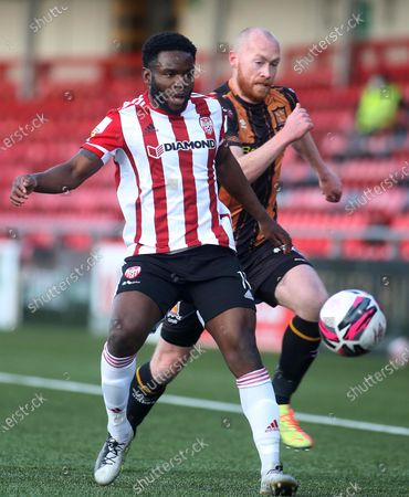 Stock Picture of Derry City vs Dundalk. Derry's James Akintunde and Dundalk's Chris Shields