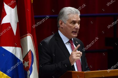 Cuban President Miguel Diaz-Canel Bermudez, speaks as First Secretary of the Central Committee of the Communist Party of Cuba (CC PCC), during the Closing Session of the VIII Congress of the PCC, at the Palacio de Convenciones, in Havana, Cuba 19 April 2021. Cuban President Miguel Díaz-Canel announced on 19 April that he will continue to consult with Raul Castro on 'strategic decisions for the future of the nation' after replacing the 89-year-old general as first secretary of the Communist Party of Cuba (PCC).