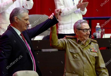 Cuban President Miguel Diaz-Canel Bermudez (L), together with Army General Raul Castro Ruz (R), after his election as First Secretary of the Central Committee of the Communist Party of Cuba (CC PCC), during the Closing Session of the VIII Congress of the PCC, at the Palacio de Convenciones, in Havana, Cuba 19 April 2021. Cuban President Miguel Díaz-Canel announced on 19 April that he will continue to consult with Raul Castro on 'strategic decisions for the future of the nation' after replacing the 89-year-old general as first secretary of the Communist Party of Cuba (PCC).