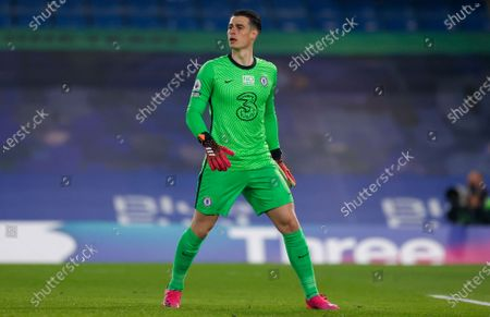 Chelsea goalkeeper Kepa Arrizabalaga (1)  during the Premier League match between Chelsea and Brighton and Hove Albion at Stamford Bridge, London