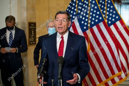 Stock Photo of United States Senator John Barrasso (Republican of Wyoming) offers remarks following the Senate Republican luncheon Russell Senate Office Building in Washington, DC,.