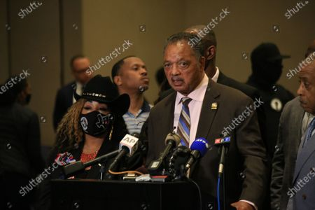 Reverend Jesse Jackson speaks at a Floyd family press conference in reaction to the guilty verdicts against former Minneapolis police officer Derek Chauvin on all three charges he faced for killing George Floyd in May 2020.