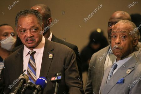 Reverend Jesse Jackson (L) speaks beside Reverend Al Sharpton (R) at a Floyd family press conference in reaction to the guilty verdicts against former Minneapolis police officer Derek Chauvin on all three charges he faced for killing George Floyd in May 2020.