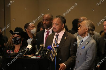 Stock Photo of Reverend Jesse Jackson speaks at a Floyd family press conference in reaction to the guilty verdicts against former Minneapolis police officer Derek Chauvin on all three charges he faced for killing George Floyd in May 2020.