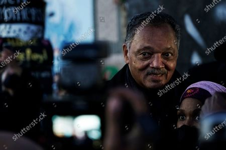 The Rev. Jesse Jackson joins those who gathered near Cup Foods after a guilty verdict was announced at the trial of former Minneapolis police Officer Derek Chauvin for the 2020 death of George Floyd, in Minneapolis. Chauvin has been convicted of murder and manslaughter in Floyd's death