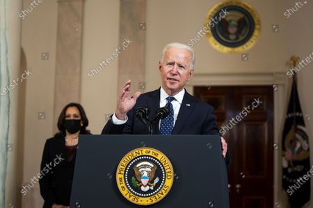 US President Joe Biden (R) delivers remarks as US Vice President Kamala Harris (L) looks on, after former Minneapolis Police Department Police Officer Derek Chauvin was found guilty on all counts in the death of George Floyd, at the White House in Washington, DC, USA, 20 April 2021.