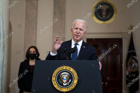 Stock Image of US President Joe Biden (R) delivers remarks as US Vice President Kamala Harris (L) looks on, after former Minneapolis Police Department Police Officer Derek Chauvin was found guilty on all counts in the death of George Floyd, at the White House in Washington, DC, USA, 20 April 2021.