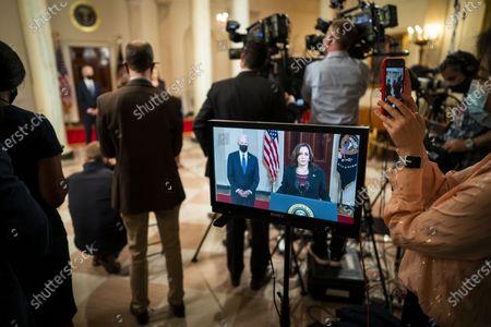 Editorial picture of Biden delivers remarks following Derek Chauvin verdict, Washington, USA - 20 Apr 2021