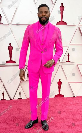 Colman Domingo arrives at the Oscars on Sunday, April 25, 2021, at Union Station in Los Angeles
