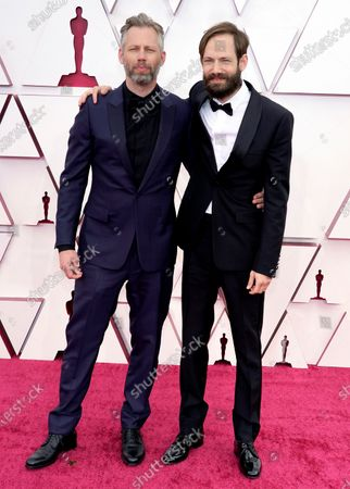 Stock Image of Darius Marder, left, and Abraham Marder arrive at the Oscars