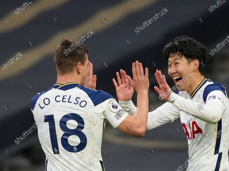 Son Heung-Min (R) and Giovani Lo Celso of Tottenham