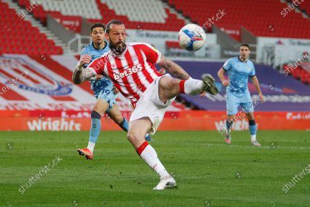 Stoke City's Stephen Fletcher volleys at goal
